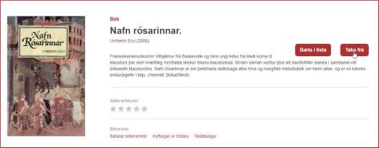 Leitað að efni á heimasíðu Borgarbókasafnsins