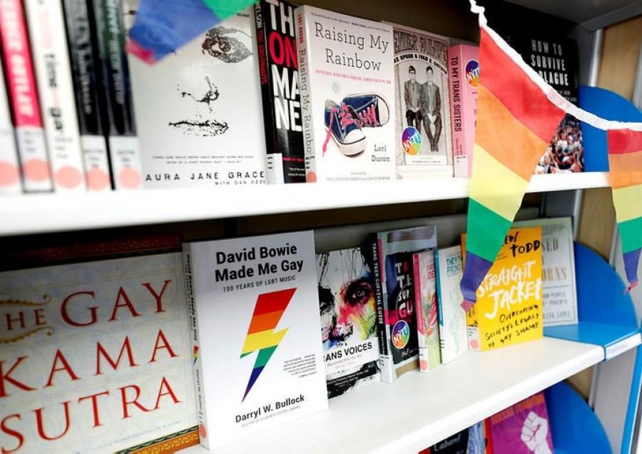 Queer books in a book shelf