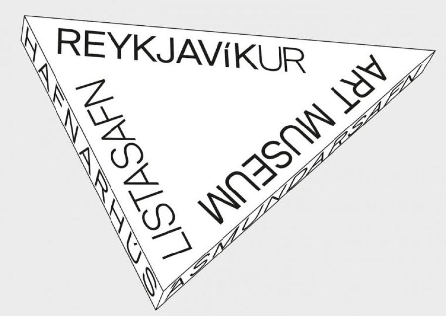 Logo: Þríhyrningur með orðunum Listasafn Reykjavíkur - Art Museum - Hafnarhús - Ásmundarsafn